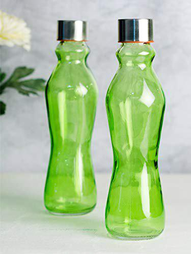 Goodhomes Glass Bottle in Lime Green Colour with Airtight Cap for Milk, Water, Juice (Set of 2)