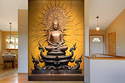 999Store 3D Print Latest Door Living Room Bed Room Home Hall Wall Stickers Sheet roll Lord Gautam Buddha Budha Meditating Mural Walpaper Paper ( Vinyl Self Adhesive 24X36 Inches ) NonW230944