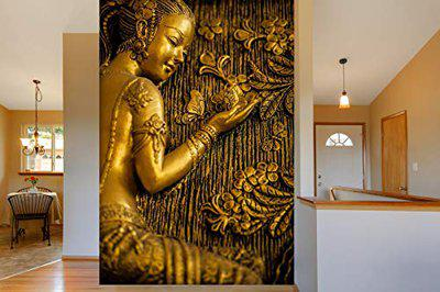 999Store 3D Print Latest Door Living Room Bed Room Home Hall Wall Stickers Sheet roll Floral Flower Golden Flowers and Lady Mural Walpaper Paper ( Vinyl Self Adhesive 24X36 Inches ) NonW230918