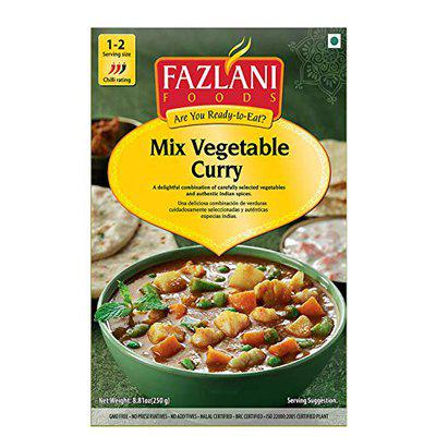 FAZLANI FOODS Ready to Eat Mixed Vegetable Curry - Pack of 1, 250g | Tasty and Authentic Instant Food Meals | Suitable for Home, Travelling and Non-Cooking Days | ISO and USDA Approved