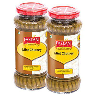 FAZLANI FOODS Ready to Eat Authentic Mint Green Chutney - Pack of 2 (15 Servings Each) Glass Bottle, Gluten-Free with No Artificial Colors Flavours  BRC and USDA Certified