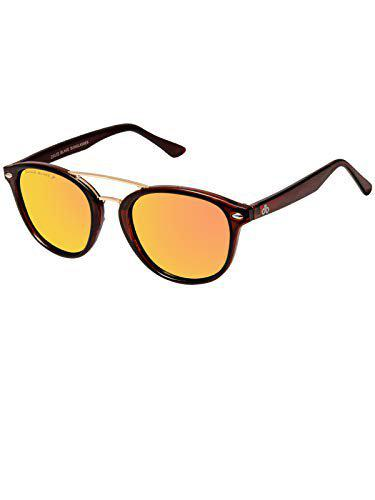 David Blake UV Protected Round Men's Sunglasses - (SGDB1713x2805C5|54|Gold Color Lens)