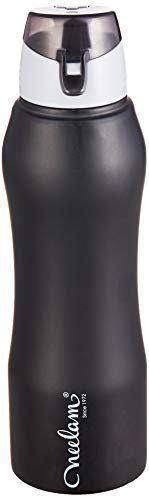 Neelam Gymbo Stainless Steel Fridge Bottle Black Sipper Cap Color 500 ml