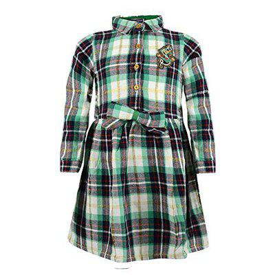 Tales & Stories Girls Checkered Girls Dress Green