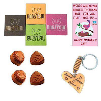 BOGATCHI Mothers Day Gift Special Chocolate Box, 4 Units + Free Key Chain + Free Mother's Day Card