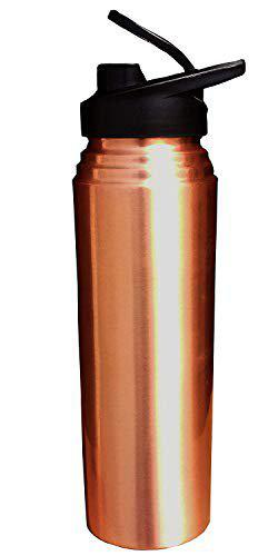 EVERGROW Copper Bottles for Water 1 Litre/Liter/LTR Water Bottle New Sipper Bottle Lacqour Coated Matt Finish Pure Copper Sipper Bottle