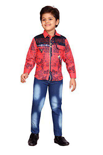 AJ Dezines Kids Shirt and Jeans For Boys (504_RED_32)