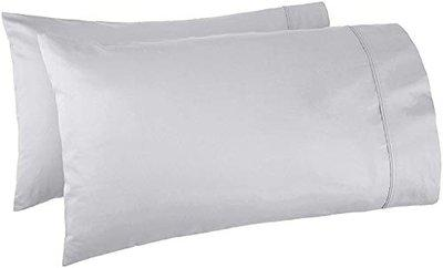 Linenwalas 400 TC Softest Cotton Solid Sateen Pillow Color - Luxury Hotel Bedding - Silver - Standard (17x27) Set of 4
