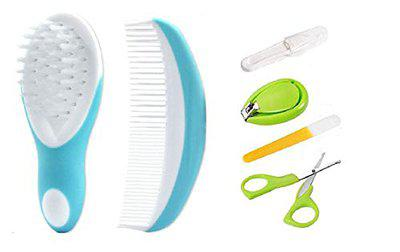 Manan Shopee Newborn Baby Comb & Soft Brush Set with Toddler Grooming Kit with Scissors - The Best Unique Baby Shower Gift for Girls and Boys (Color May Vary) (Blue)