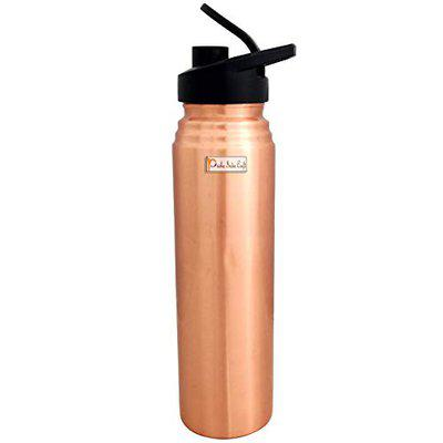 Prisha India Craft Pure Copper Bottle, Lacquer Coated Sipper Water Bottles for Sports, Gym   Capacity 1000 ML