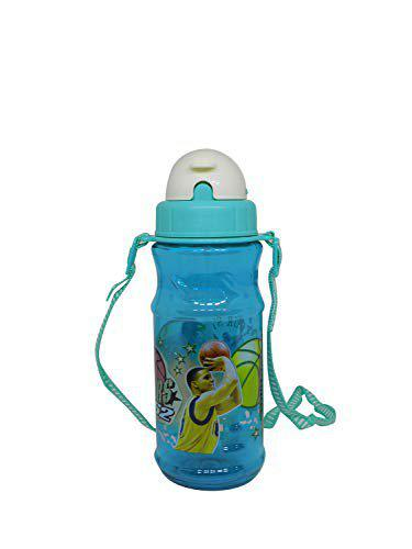 Ekan Cartoon Character Sipper Water Plastic Bottle with Straw for Kids School/Travel/Game 20 Gram Pack of 1 (250 ml) (Green)