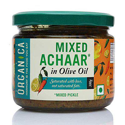 Organica Homemade Mixed Vegetable Pickle Indian Achaar in Olive Oil 300gm