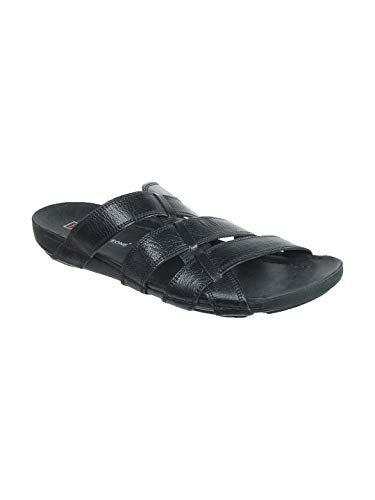 Franco Leone Men's Black Leather Sandals And Floaters - 6 Uk/india (40 Eu)