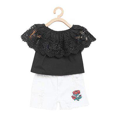 Camey Girls Black Self Design Top with Shorts