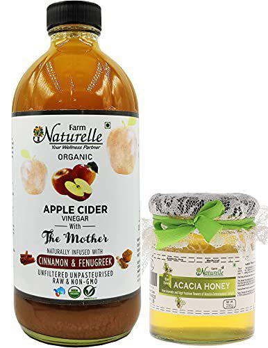 Farm Naturelle (Glass Bottle) Apple Cider Vinegar with Mother and Infused Cinnamon and Fenugreek (500 ml) Along with Raw Acacia Forest Honey 250 GMS (Glass Bottle)