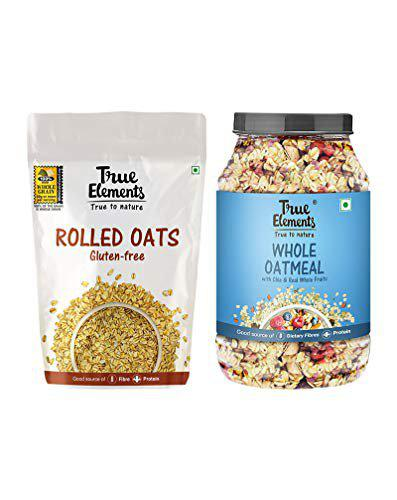 True Elements Breakfast Cereals (Rolled Oats 1kg + Whole Oatmeal 1kg) - High Protein Weight Loss Combo