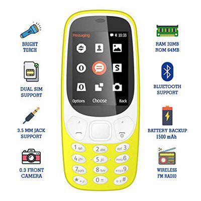 IKALL K36 2.4 Inch Display Multimedia Phone (Yellow)