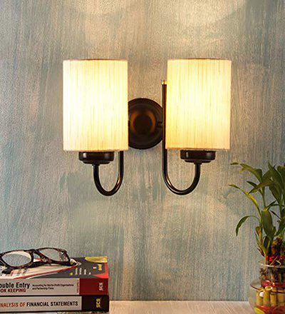 Devansh Off White Cotton Double Wall Mounted Lamp