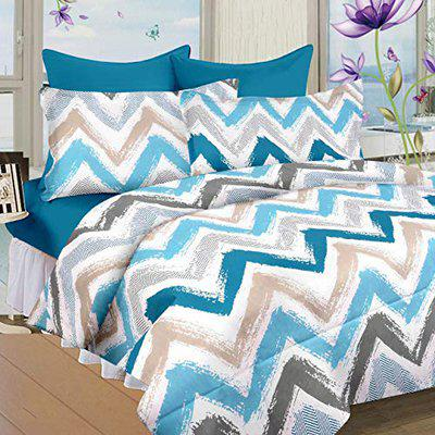 Nistaksh Designs Zig Zag Print Cotton Double Bedsheet with Two Pillow Covers (Size: 90x96 inches, Waves Pattern, Blue)