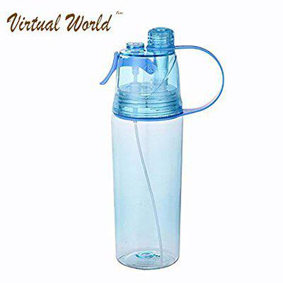 VIRTUAL WORLD Spray Water Bottle for Sports, Outdoor, Cycling, Sports, Gym and Drinking - Multi Color