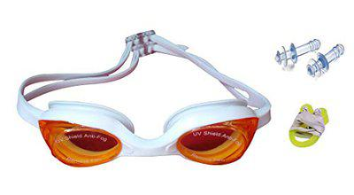 Bloomun Adjustable, Silicon-Made, Non Fogging, Anti UV Swimming Goggles for Kids' Precious Sensitive Eyes with Free Earplug and Nose Clip, Color - Assorted