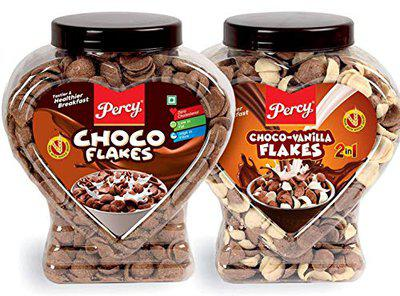 Percy Choco Flakes and Choco Vanilla Flakes, Combo Pack of 2 Jars [Zero Cholesterol, High Iron and Fibre Chocos Cereal] Jar, 780 g