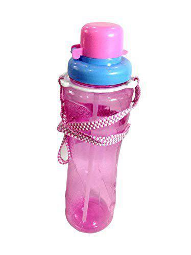 Unique Arts & Interiors Pink Transparent School top flip Sipper Water Bottle