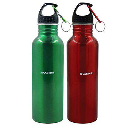 IBELL Castor WB750T Stainless Steel Water Bottle With Key Chain, 750ml, Set of 2, Red, Green