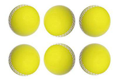Tima Cricket Ball Genuine Quality Poly PVC Coated Hard Cricket Ball (Yellow) (Pack of 6)