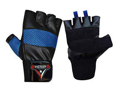 VICTORY Alpha- 01 Wrist Support Gym & Fitness Gloves (Blue)