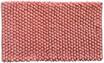 AJS Living Ribbed/Stockinette Stitch Style Bath mat for Home Soft Microfiber Anti Skid Bathmat, Bath/Bed/Living Room & Entrances- ECO Series Washable, Color Peach, Size 28.5 x 19.5 in/ 72 X 50 cm