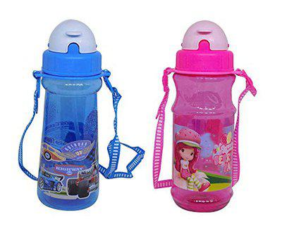 Leysin Combo of 2 Pieces School Water Bottle for Kids Girls and Boys Best Gift Item Multi Color Pack of 1