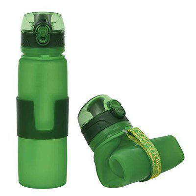 HARI - Collapsible Water Bottle   Leak Proof for Sports, Travel and Outdoors   Reusable Silicone Foldable Water Bottle   BPA Free, 350ml (Green)
