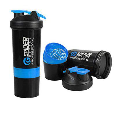 KETSAAL Spider Protein Shaker Bottle 500ml with 2 Storage Extra Compartments for Gym (Blue)