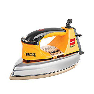 Cello Plug and Press Sumo Heavy Weight Iron, Yellow, 1000 W