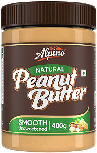 Alpino Natural Peanut Butter Smooth 400 G   Unsweetened   Made with 100 Roasted Peanuts   30 Protein   No Added Sugar   No Added Salt   No Hydrogenated Oils   Non GMO   Gluten Free   Vegan