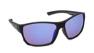 Fastrack UV400 Wrap Polarized Unisex Sunglass (Fast-P436BU3, Black Lens with Blue Mirror)
