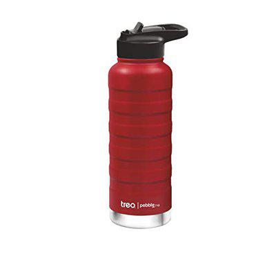 Treo by Milton Pebble Thermosteel Hot and Cold Bottle with Spout Lid, 710 ml, Red