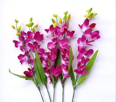 Celebration Artificial Orchids Stick Flower Bunch for Luxurious Home Decor (Stick of 5) (6 Stems, Pink, 45cm)