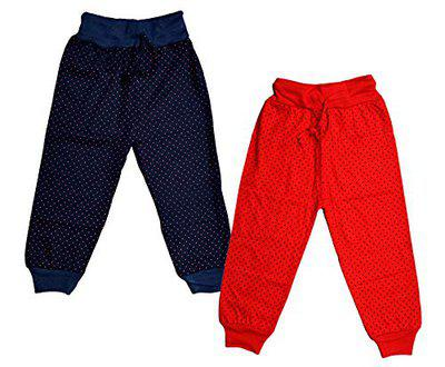 IndiWeaves Girl's Combo Pack of Cotton Printed Capri Pants (Red/Nevy Blue_11-12 Years) Pack of 2
