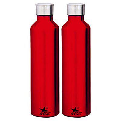 Stainless Steel Water Bottle (Red) Set of 2