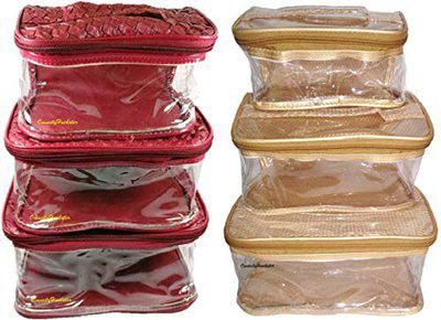 OmneityHuckster Multipurpose pack of 1 Maroon Foam & 1 Golden Net cosmetic pouch cosmetic makeup bag jewellery makeup storage travel pouch organizer vanity box multipurpose Vanity Box
