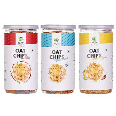 New Tree Healthy Snack Combo || Oats Chips Lemon & Spice 200gm || Oats Chips Simply Salted 200gm || Oats Chips Tomato 200gm || Combo Pack of 3 || Combined Weight: 600gm || Gluten Free Snacks