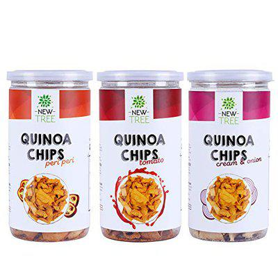 New Tree Healthy Snack Combo || Quinoa Chips Peri Peri 200gm || Quinoa Chips Tomato 200gm || Quinoa Chips Cream & Onion 200gm || Combo Pack of 3 || Combined Weight 600gm
