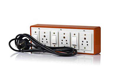 HI-PLASST (3+3) Extension Switch Board with 3 Mile Sockets(5A) and 3 Mile Switches (5A)-4Mtr Long Wire
