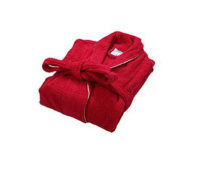 Divine Overseas - Double Sided Terry Premium Shawl Collar Higher Absorbency -100% Pure Cotton (Celestial Bathrobe S/M, Festive Red)