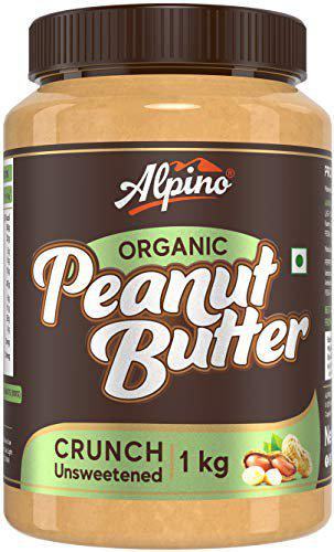 Alpino Organic Natural Peanut Butter Crunch 1 KG   Unsweetened   Made with 100 Roasted Organic Peanuts   30 Protein   No Added Sugar   No Added Salt   No Hydrogenated Oils   Non GMO   Gluten Free   Vegan