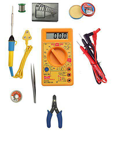 Gadget Deals 25w Deluxe Soldering Iron,Wire Stripper,Solder Stand,Solder Wire,Desold Wire,Flux,Tweezer,Multimeter (8 Piece Set)