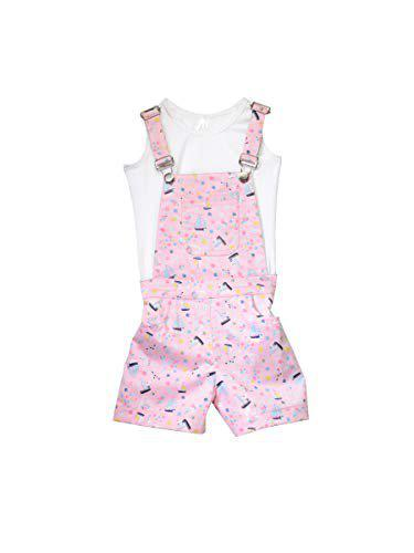 StyleStone Girls Pink Boat Print Dungaree Shorts Set with Inner top (9122PinkBoatJS6-7)