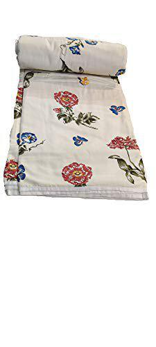 ans Cotton Cloth Filled with Flannel Sheet Beautiful Single Bed AC Quilt for Mild Winter (Multicolour, 56x85 Inches)